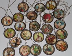 10 Assorted Prim Vintage Easter Bunny Metal Rim Hang Tags Mi