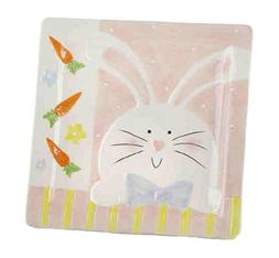 Delton Products 10 inches Ceramic Pink Bunny Plate Home Deco
