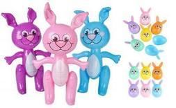 """12 Colorful 3.5"""" Bunny Plastic Easter Eggs and 3 Pack 24"""" Fr"""