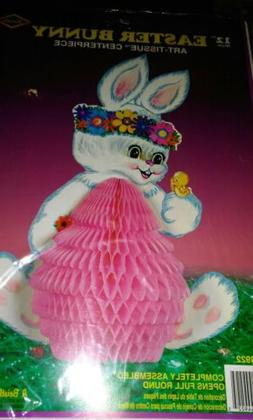 "12"" EASTER BUNNY DECOR Beistle no. 44922  Art Tissue Centerp"