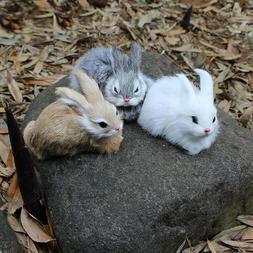 15CM Mini Realistic Cute White Plush Rabbits Fur Lifelike <f