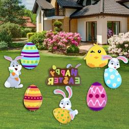 16PC Easter Bunny Eggs Corrugated Signs Multicolored for Yar