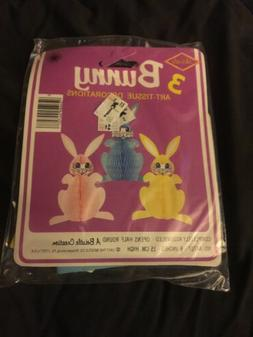 1977 Beistle 3 Easter Bunny Art Tissue Decorations Brand New