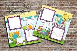 1st Easter Bunny 2 PRINTED Premade Scrapbook Pages Boy Girl