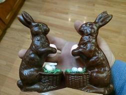 2 Chocolate Rabbits Bunny With Egg Basket Decorations Easter