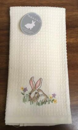 2 Easter BUNNY Sitting Kitchen Dish Hand Towels 100% Cotton