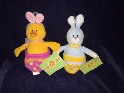 2 New Amscan Spring Easter Bunny & Chick Zippered Plush Good