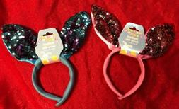 2 Pairs Sequined Easter Bunny Rabbit Ear Headband -Adults &
