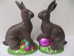 2 pc set Easter Faux Classic Chocolate Bunny Rabbit Decorati
