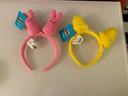 2 Peeps Plush Bunny Rabbit & Chick Headbands Spring Easter P
