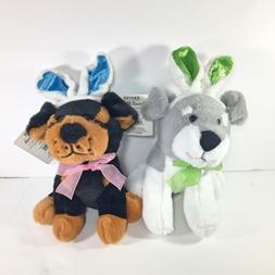 2 Puppy Dog Plush Stuffed Animals w/ Easter Bunny Ears