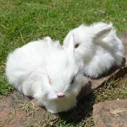 2 x Mini Realistic White Plush Rabbits Fur Lifelike Animal F
