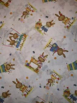 2 Yards Rabbit Bunny Children Kids Nursery Cotton Fabric Eas