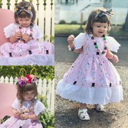 2019 Toddler Girl Funny Sundress Easter Bunny Dress Floral P