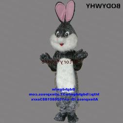 2020 Grey Long Fur Easter Bunny Osterhase Rabbit Hare Mascot