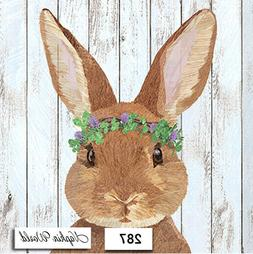 TWO Individual Paper LUNCHEON Decoupage Napkins - BUNNY RAB