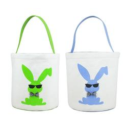 2pcs Easter Baskets Bucket For Kids Bunny Bag Easter Eggs Hu