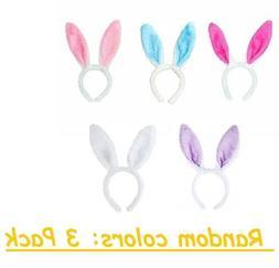 3/5 Pack Bunny Ears Plush Fuzzy Headband Hairband Rabbit Eas
