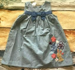 Gymboree 3 6 12 18 24 Bunny Dress Forest Fox Chambray Flower