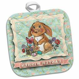 3dRose 3D Rose Easter Bunny Wishes Pot Holder, 8 x 8