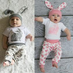 3PC Newborn Baby Girl Boy Cartoon First Easter 3D Bunny Outf