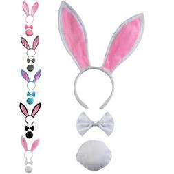 3Pcs/Set Plush Bunny Ears Headband Bow Tie Tail Easter Rabbi