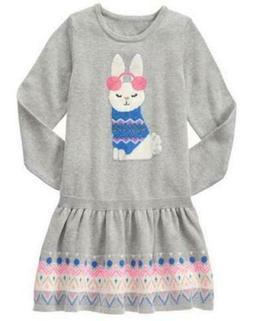 Gymboree 4 5 6 7 Bunny Sweater Dress Snowflake Fun Gray Fair