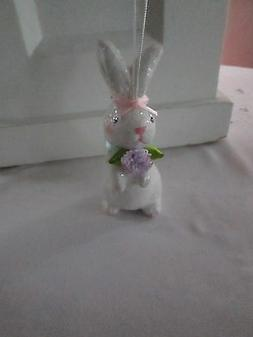 """4.5"""" White Easter Bunny Ornament with Pink Bow & Lavender Fl"""