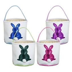 4 Color Easter Egg Basket Holiday Rabbit Bunny Printed Gift