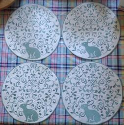 "4 EMBROIDERED EASTER BUNNY RABBIT PLACEMATS 15"" ROUND INSPIR"