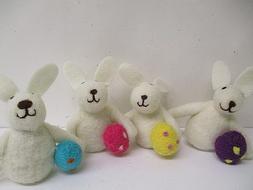 4 pc. EASTER Felt Wool Bunny Rabbit w/ Eggs - craft decor