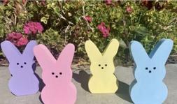 4 Pc Farmhouse Spring Easter Wooden Bunny Peeps Decor Bunny