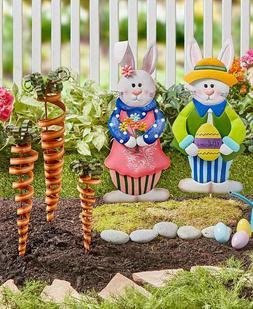 5 Pc. Boy Girl Easter Bunny & Carrots Garden Stakes Holiday