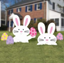 5 PC EASTER BUNNY EGGS SIGN SPRING YARD PATH STAKES Outdoor