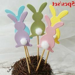 5pcs Easter Bunny Rabbit Cupcake Cake Toppers Pick Child Bir