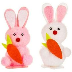 6 Chenille 2 1/2 inches Easter Bunny or Rabbit w/carrrots