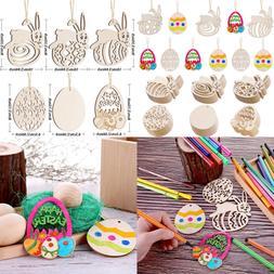 60 PC Easter Wooden Embellishments Egg & Bunny Shape Hanging