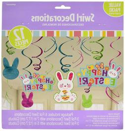 Amscan 670419 Easter Bunny Hanging Swirl Decorations, Paper,