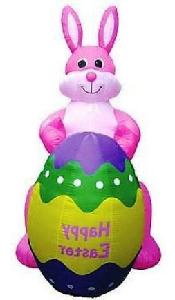 8 Ft EASTER BUNNY HOLDING GIANT EGG Air Blown Lighted Yard I
