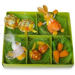 9 Easter Bunny, Hats, Eggs, Chick, Carrots Figurines