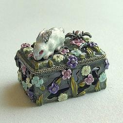 Bunny Dragonfly Box Swarovski Crystals Bee Jewelry, Trinket