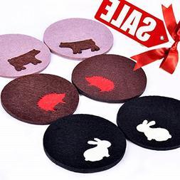 LIQUIDATING SALE - Detachable Felt Coasters Set of 6 - Cute