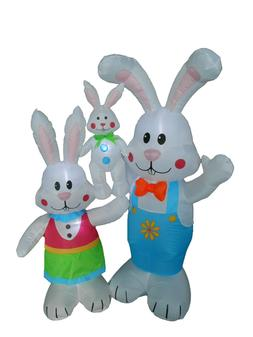 Air Blown Inflatable Easter Bunny Family Lawn Yard Art Indoo
