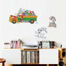 Art Nursery Kids Room Easter Day Wall Sticker Cartoon Bunny