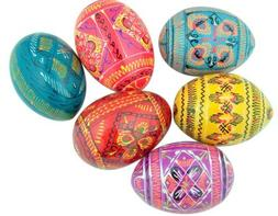 Authentic Set of 6 Ukrainian Wooden Pysanky Pysanki Wood Eas