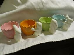 AVON Easter Bunny Egg Cups Set of 4 Ceramic Different Colors