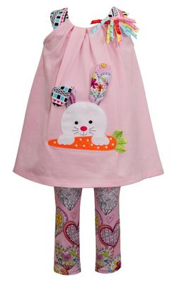 Bonnie Jean Baby Girls Bunny Holiday Easter Multi Dress 2 pc
