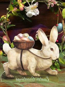 Bethany Lowe White Bunny with Egg Basket Large Dummy Board