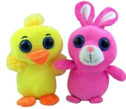 Big Eyed Easter Plush Stuffed Animal Bunny and Chick, 7 Inch