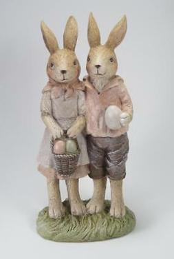 "Boy & Girl Easter Bunny Rabbits Holding Eggs 12"" Tall Tablet"